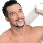 Young man with white towel