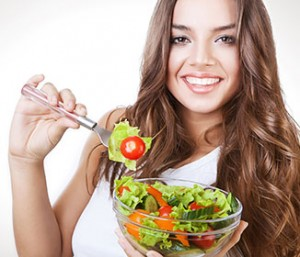eating healthy salad